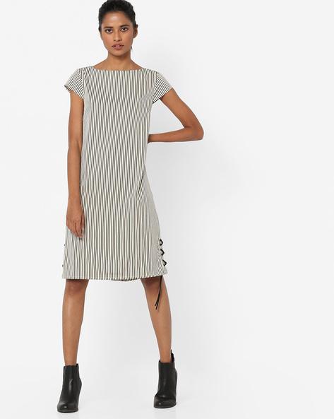 Striped Shift Dress With Tie-Up By AJIO ( Ivory )