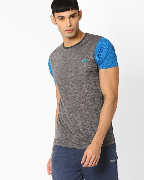Comfort Fit T-shirt With Printed Sleeves By PROLINE ( Greymelange )