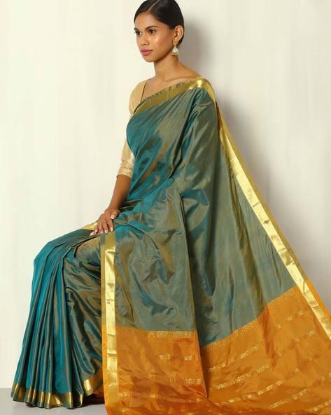 Pure Silk Mix Striped Saree With Zari Border By BANASURI ( Blue )