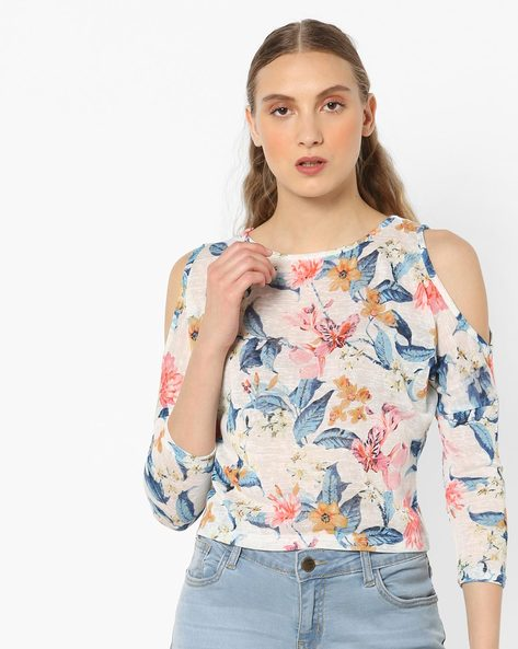 Floral Print Top With Cold-Shoulder Sleeves By And ( Assorted )