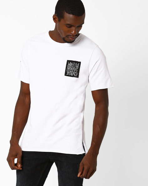 High-Low Hem Cotton T-shirt By ADAMO LONDON ( White )