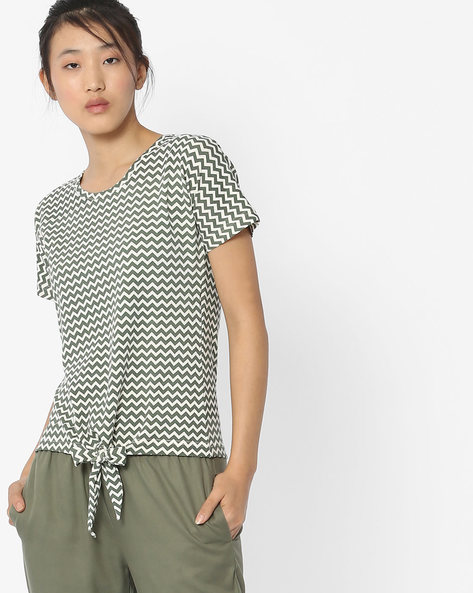 Chevron Print Top With Front Tie-Up By ANONYMOUS CO ( Olivegreen )
