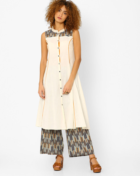 A-line Kurta With Full Button Placket By AJIO ( Offwhite )
