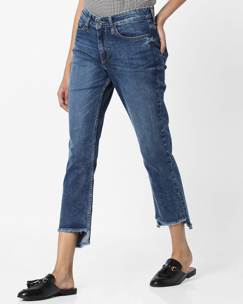Straight Fit Cropped Jeans With Step Hem By Pepe Jeans ( Blue )