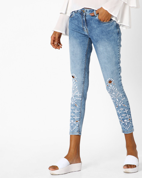 Embroidered Skinny Jeans With Cutouts By Ginger By Lifestyle ( Lightblue )