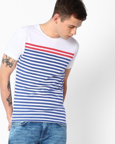 Striped Slim Fit T-Shirt By The Indian Garage Co ( Red )