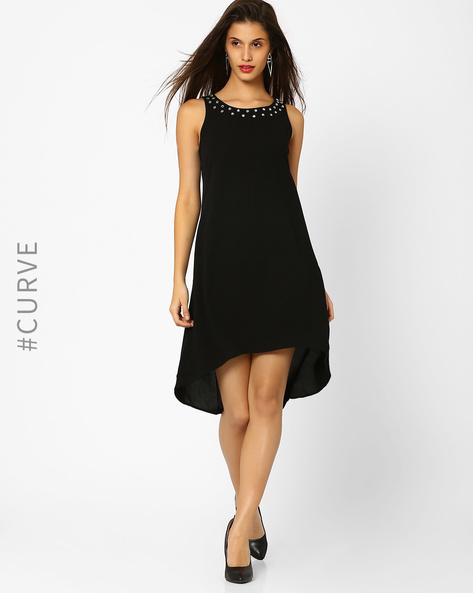 High-Low Dress With Embellished Neckline By AJIO ( Black )