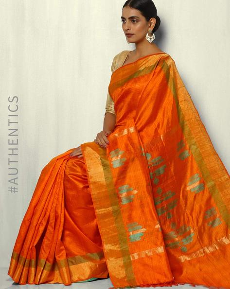 Handloom Pure Silk Dupion Saree With Zari Border By Pretty Woman ( Orange )