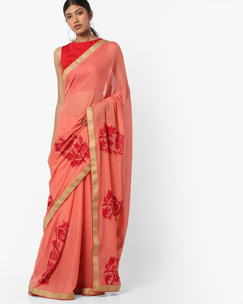 Embroidered Saree With Unstitched Blouse By Vastrangi ( Peach )