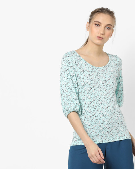 Floral Printed Top By CODE By Lifestyle ( Aqua )