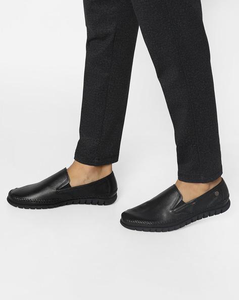 Genuine Leather Slip-Ons By BUCKAROO ( Black )