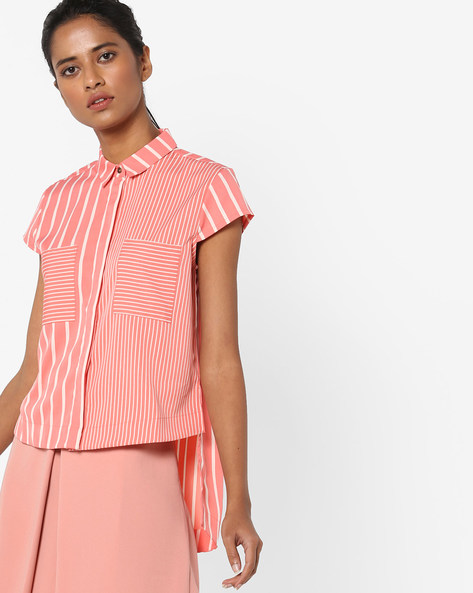 Striped High-Low Shirt By AJIO ( Coral )