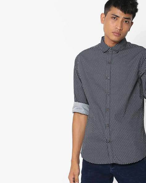 All-Over Print Shirt By UNITED COLORS OF BENETTON ( Navyblue )