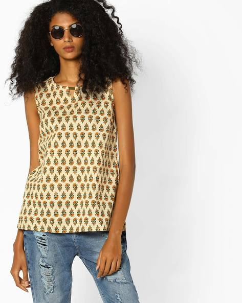 Printed Top With Keyhole Neckline By AJIO ( Beige )