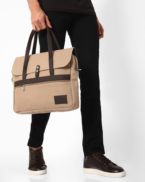 Messenger Bag With Top Handles By FAMOZI ( Beige )