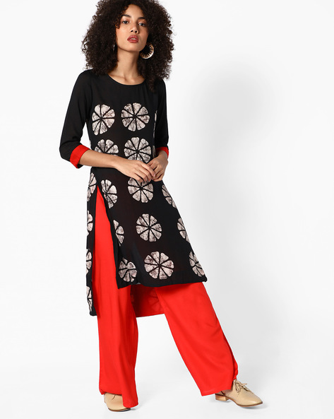 Straight Kurta With High-Low Hemline By Melange By Lifestyle ( Black )