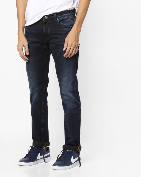 Slim Fit Jeans With Whiskers By Killer ( Indigo )