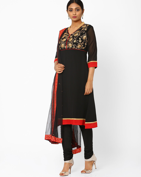 Embroidered Churidar Kurta With Dupatta By AJIO ( Black )