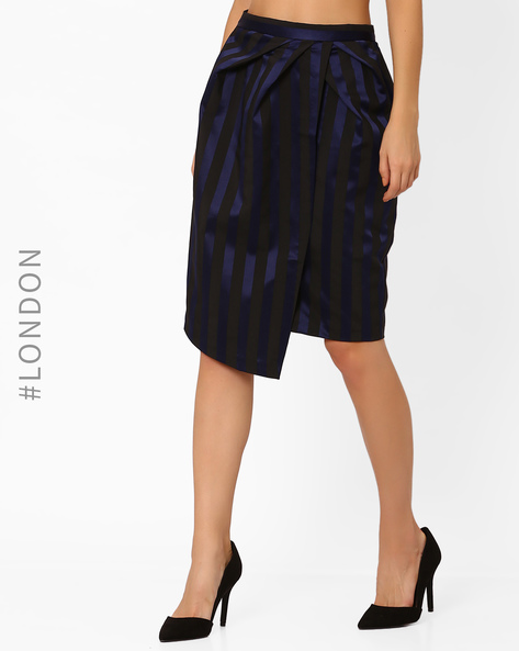 Striped Wrap Pencil Skirt By Closet London ( Navyblue )