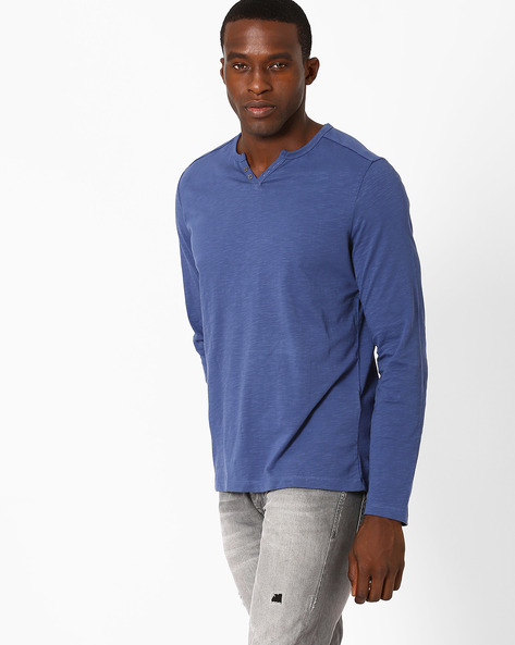 Heathered Henley T-shirt By Celio ( Indigo )