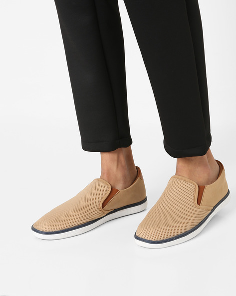 Perforated Slip-ons With Elasticated Gussets By AJIO ( Beige )