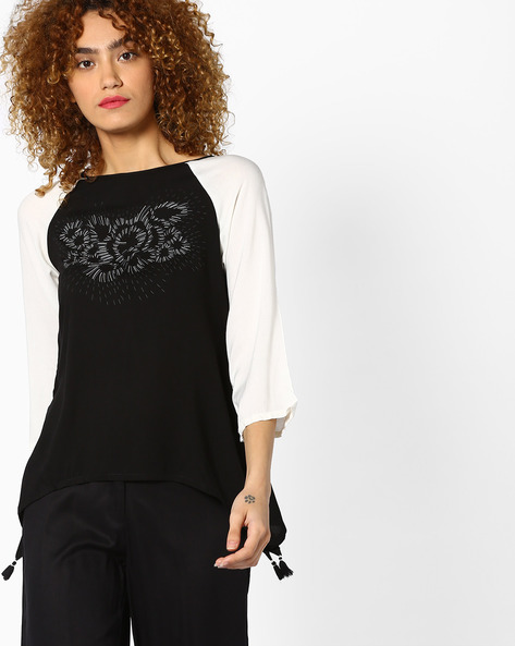 Printed Top With Raglan Sleeves By Global Desi ( Black )