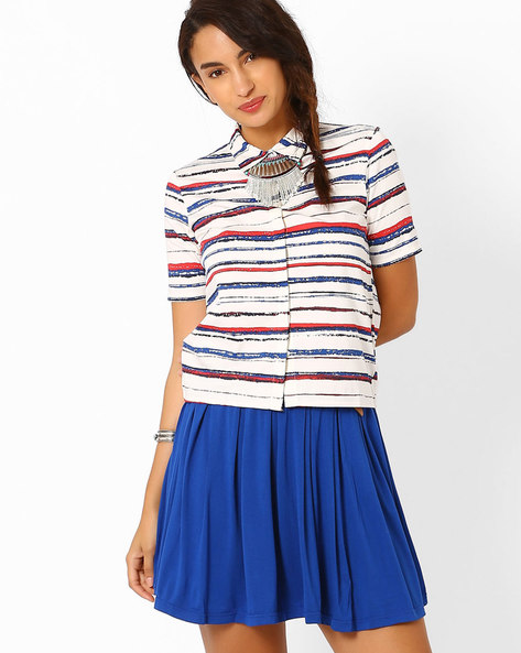 Striped Short Shirt By AJIO ( Offwhite )