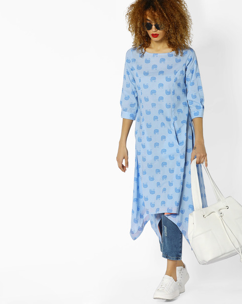 Printed Kurta With Handkerchief Hem By AJIO ( Lightblue )