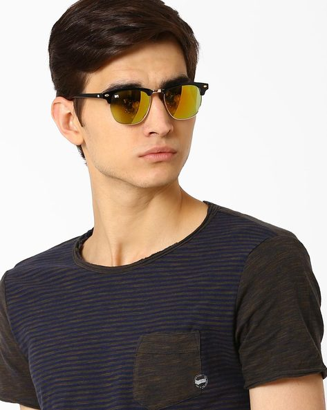 Mirrored Clubmaster Sunglasses By MTV ( Golden )
