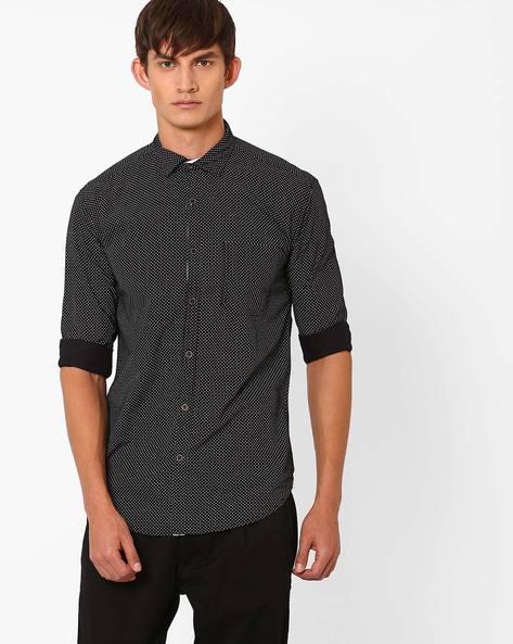 Polka Dot Print Slim Fit Shirt By Nature Casuals ( Black )
