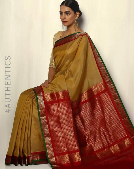 Handloom Arani Striped Pure Silk Saree By Pretty Woman ( Beige )