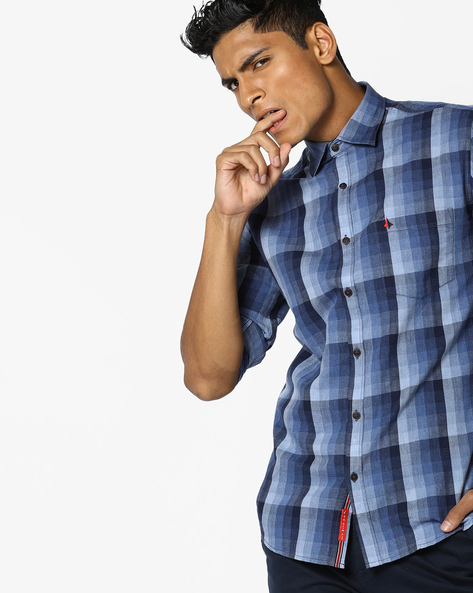Checked Shirt With Patch Pocket By British Club ( Blue ) - 460108740001