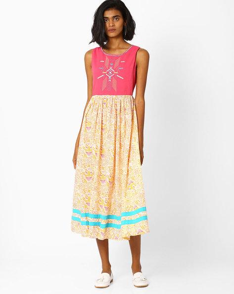 Printed Sleeveless Dress By AJIO ( Pink )
