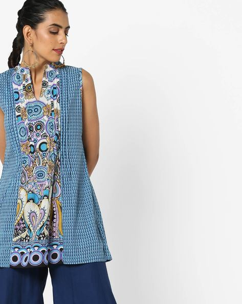 Sleeveless Printed Top With Pintucks By Rain & Rainbow ( Blue )