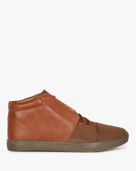 Panelled Mid-Top Sneakers With Toe-Cap By Knotty Derby ( Tan )