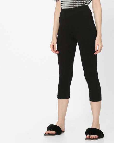 Mid-Rise Mid-Calf Length Leggings By Alibi ( Black )
