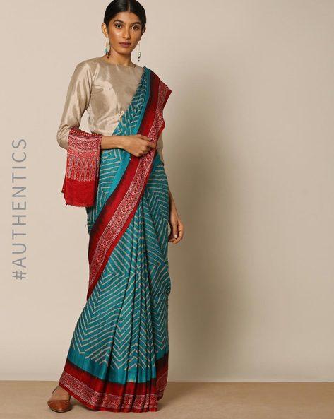 Kutch Bandhani Ajrak Pure Silk Gajji Saree By Indie Picks ( Blue )