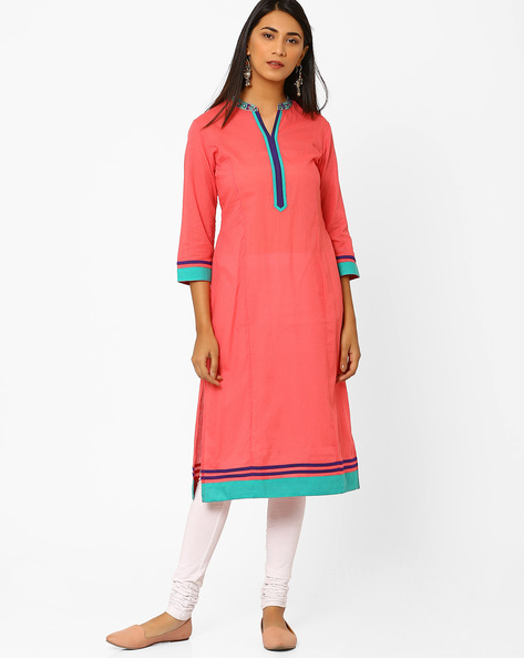 Self-Striped Kurta With Embroidered Collar By AJIO ( Coral )