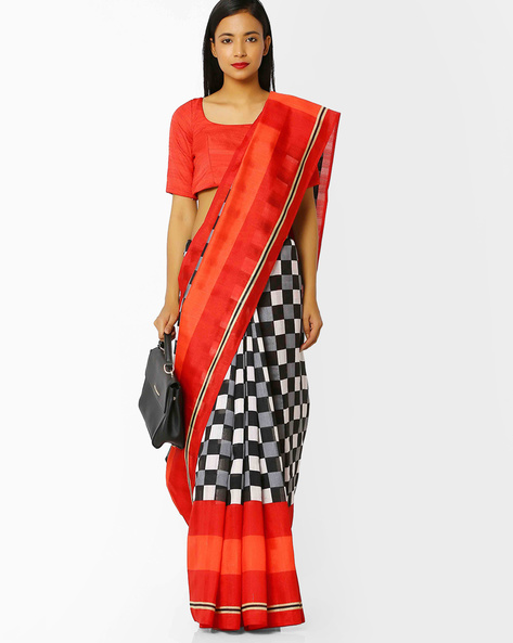 Checked Malbari Silk Saree With Blouse By Florence ( Black )