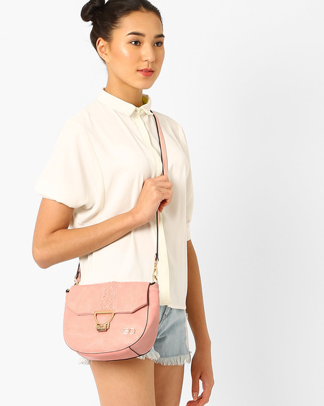 Sling Bag With Braided Detail By E2O ( Beige )