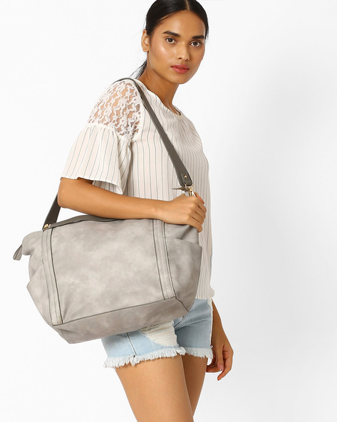 Tote Bag With Detachable Strap By AJIO ( Tan )