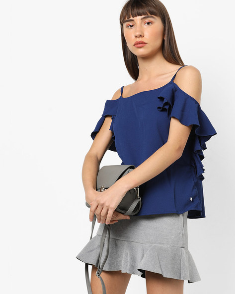 Strappy Cold-Shoulder Top With Ruffles By Only ( Blue )