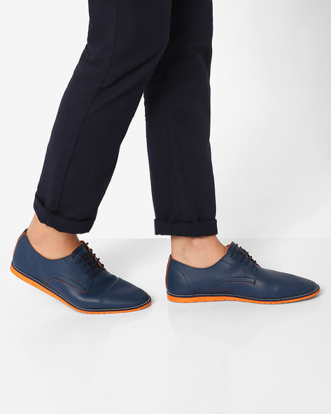 Panelled Casual Shoes By AJIO ( Navy )