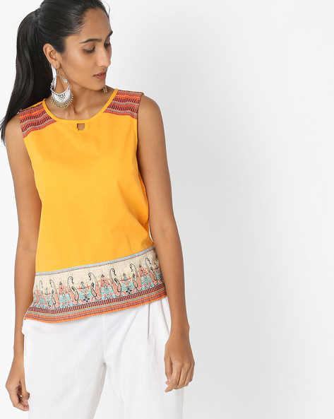 Sleeveless Kurti With Printed Panels By AURELIA ( Yellow )