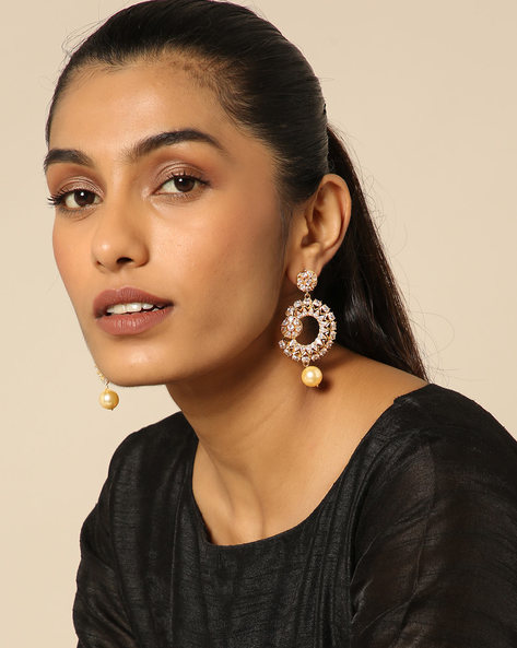 Floral Stone Earrings With Pearl Drop By Spargz ( White )