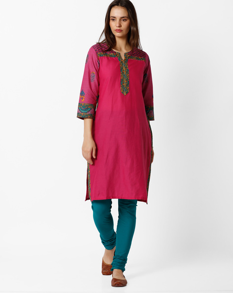 Printed Churidar Kurta Set By AVAASA SET ( Pink )