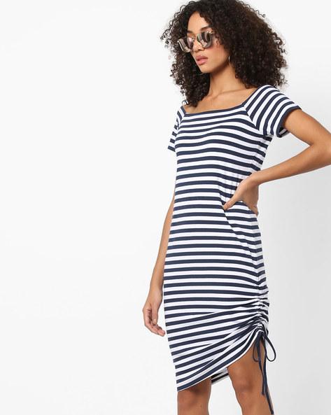 Striped Bodycon Dress With Tie-Up By AJIO ( Navy )