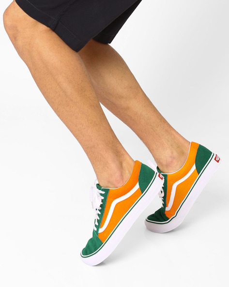 Side-Striped Colourblock Sneakers By Vans ( Green )