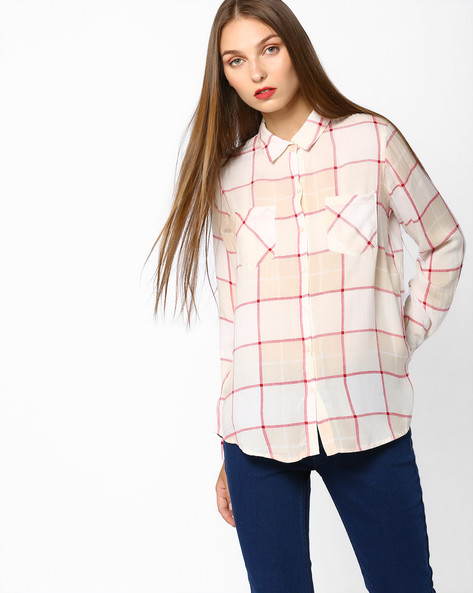 Checked Shirt With Patch Pockets By Fame Forever By Lifestyle ( Offwhite )