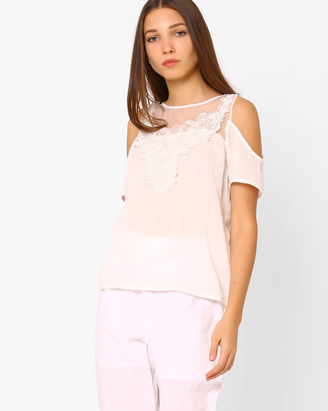 Cold-Shoulder Top With Lace Yoke By Rena Love ( White )